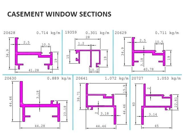JINDAL ALUMINIUM LTD : CASEMENT WINDOW SECTIONS