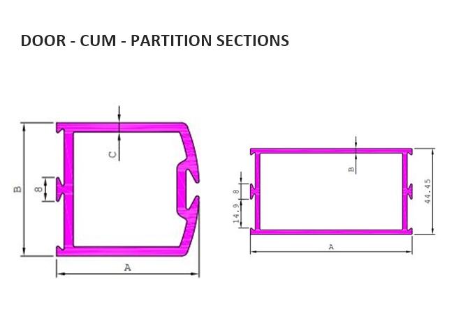 JINDAL ALUMINIUM LTD : DOOR - CUM - PARTITION SECTIONS