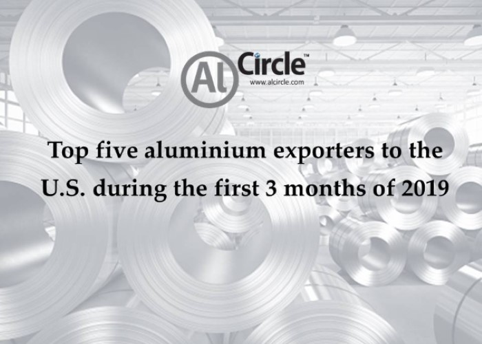 Top five aluminium exporters to the U.S. during the first 3 months of 2019