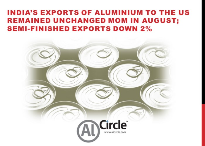 India's exports of aluminium to the US remained unchanged MoM in August; semi-finished exports down 2%