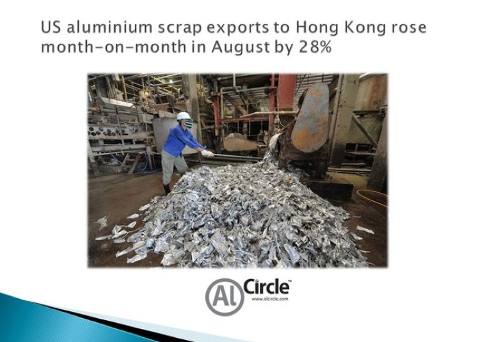 US aluminium scrap exports to Hong Kong rose month-on-month in August by 28%